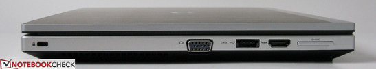 Left: Kensington lock, VGA-out, eSATA/USB 2.0, HDMI-out, 2-in-1 card reader