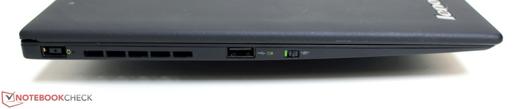 Left: Power socket, powered USB 2.0