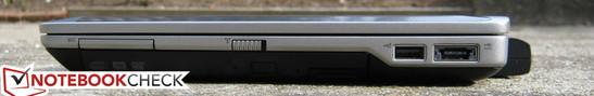 Right: ExpressCard/34, E-Modular bay, Wi-Fi switch, USB 2.0, USB 2.0/eSATA