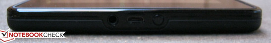 Front: 3.5mm headphone jack, micro USB 2.0, Power button