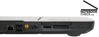 ...S-video, Firewire, volume control, ExpressCard, card reader.