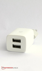 The charger is also unusual: It features two USB ports.