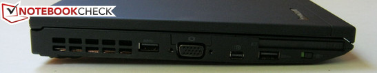 Left: 2x USB 3.0, VGA-out, Mini DisplayPort, ExpressCard 54mm, Wireless switch