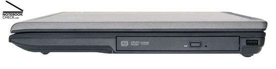 Right Side: DVD drive inside a MediaBay slot, 1x USB-2.0