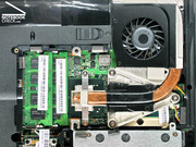 Both memory slots are occupied and the fan can be conveniently cleaned.