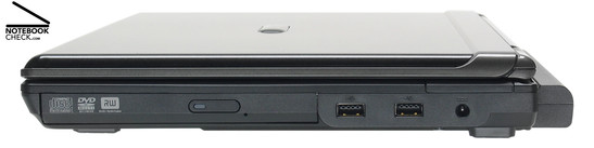 Right side: DVD drive, 2x USB-2.0, power connector