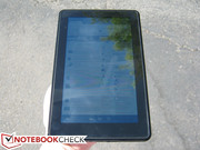 Kindle Fire under direct sunlight. Outdoor visibility is similar between the two tablets