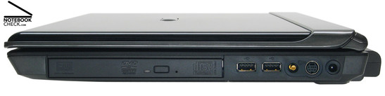 Right Side: DVD drive, 2x USB-2.0, RF-in, S-Video in, power connector