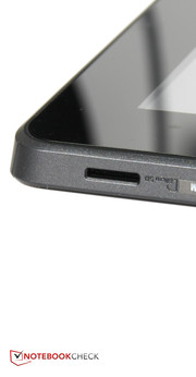 Because the micro SD slot is located on the bottom of the tablet, when the tablet and dock are connected, the whole device has to be tipped over to access the slot.