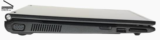 Left Side: VGA, fan, WLAN-switch, 1x USB-2.0, 4-in-1-card reader