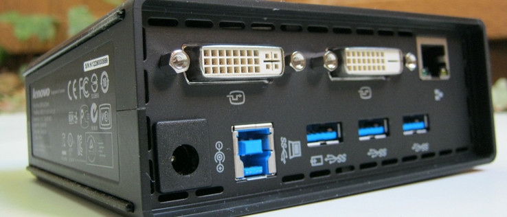 Rear  from top to bottom: 1x DVI-I, 1x DVI-D, RJ-45 Gigabit Ethernet, AC input, USB 3.0 upstream, 3x USB 3.0 (1x sleep-and-charge)
