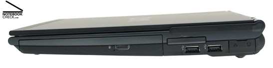 Right Side: DVD drive, ExpressCard/34, 2x USB-2.0, LAN, modem, WWAN antenna