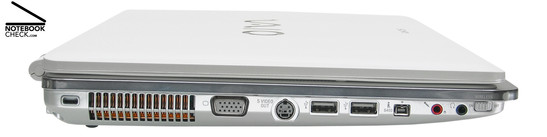 Sony Vaio VGN-CR31S/W Left Side: Kensington Lock, Vent holes, VGA, S-Video-Out, 2x USB-2.0, i.LINK (IEEE1394, FireWire) S400 port, microphone, headphones, WLAN/Blutooth switch