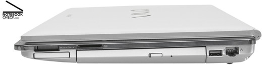 Sony Vaio VGN-CR31S/W Right Side: Memory stick slot, ExpressCard/34, SD card slot, DVD drive, 1x USB-2.0, 100-MBit-LAN