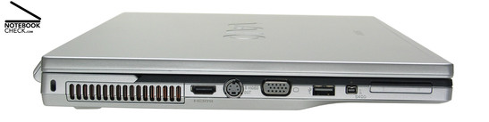 Sony Vaio VGN-FZ31Z Left Side: Kensington Lock, Vent holes, HDMI, S-Video-Out, VGA, 1x USB-2.0, i.LINK (IEEE1394, FireWire) S400 interface, ExpressCard/34