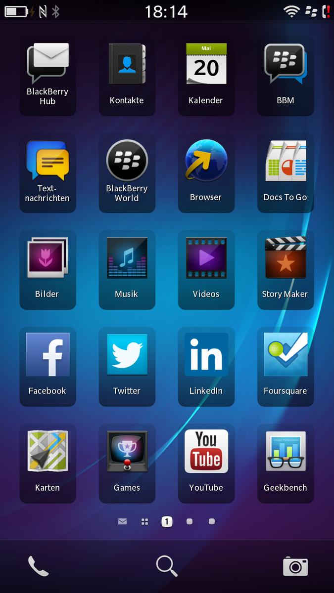 Home Screen Of Blackberry 10