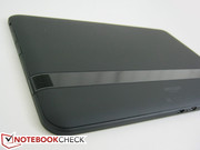 Rubberized back casing bisected by a plastic bar