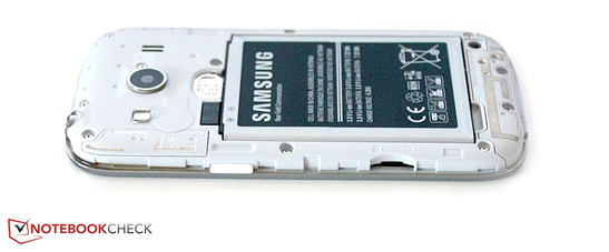 Under the cover: Battery, micro SIM slot, microSD slot