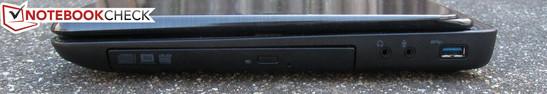 Right: DVD drive, 3.5mm headphone jack, 3.5mm mic jack, USB 3.0