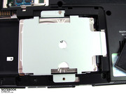 The hard drive is secured with 2 screws and can also be replaced quickly if needed