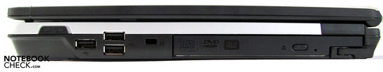 Rechte Seite: WLAN switch, 3x USB 2.0, DVD-player in modular bay