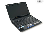The Acer Aspire One 532 netbook wide open, ...