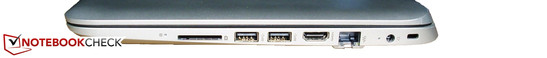 Right: Kensington slot, power socket, HDMI, 2x USB 3.0, SD card reader
