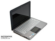 The netbook's interior shows itself very conservative with black and silver.