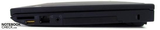 Right side: Card reader, USB 2.0, LAN, audio jack, Kensington