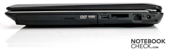 Right: Optical Disc Drive, 1x USB 2.0, 4-in-1 Card Reader (MC/SD/Memory Stick (Pro)), LAN, Power Connector