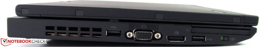 Left: USB 2.0, VGA, display port, USB 2.0, ExpressCard54, wireless on/off