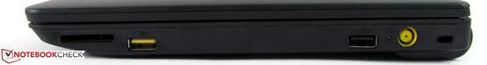 Right side: card reader, USB 2.0, powered USB 2.0, power, Kensington Lock