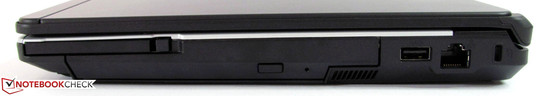Right side: ExpressCard/54, DVD-Burner, USB 2.0, Gigabit-LAN, Kensington-Lock