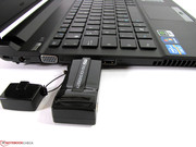The gap between the USB 2.0 interfaces is too little for thick USB sticks.