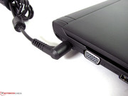 The power cable is angled, which allows it to take less space. This is not always the case with laptops.