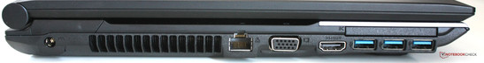 Left side: Power, LAN, VGA, HDMI, 3x USB 3.0, ExpressCard slot