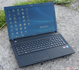 The IdeaPad N586 in outdoors use.