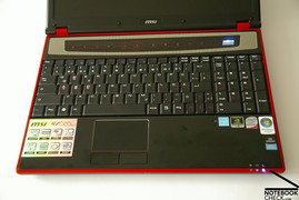 MSI Megabook GX620 keyboard and touchpad