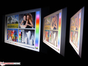 The colors can be enjoyed over a wide horizontal viewing angle.