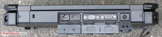 Back side: Gigabit ethernet, USB 2.0, serial port, VGA output, power connection