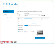 The user can manipulate the speakers and microphone via Dell's audio software.