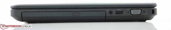 Right: DVD multi-burner, combo audio, USB 3.0, screw-mountable (rare!) VGA d-Sub , Kensington