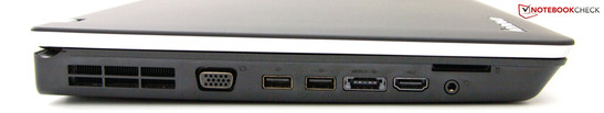 Left side: VGA, 2x USB 2.0, eSATA/USB 2.0, HDMI, Audio, Cardreader