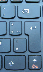 "The right ""Shift"" key and the ""Backspace"" - and ""Enter"" key are smaller than usual."