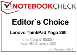 Elite business features: Editor's Choice Award for the Lenovo ThinkPad Yoga 260 in February 2016