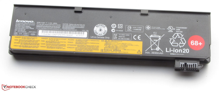 The battery has a capacity of 48 Wh.