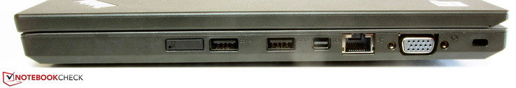 Right side: SIM slot, 2x USB 3.0, mini-Displayport, Gigabit Ethernet, VGA, Kensington lock slot