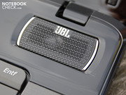 The JBL loudspeakers make a real thud for a laptop.