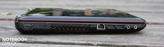 Trái: VGA, HDMI, Ethernet, 2 x USB 2.0, đường ra, micrô