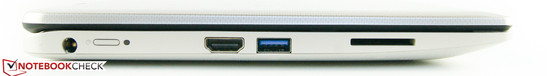 Left side: power jack, power switch, HDMI out, 1x USB 3.0, SD card reader